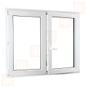 Kunststofffenster | 130x130 cm (1300x1300 mm) | weiß | Zweiflügelige ohne Pfosten | rechts | 6 Kammern